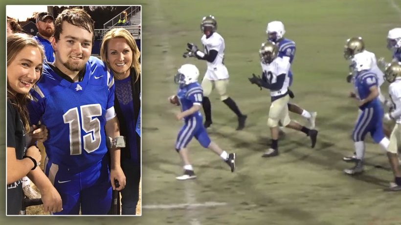 HS football player with cerebral palsy scores touchdown in final game