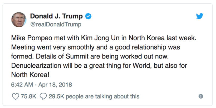Trump confirms Pompeo met with Kim Jong Un