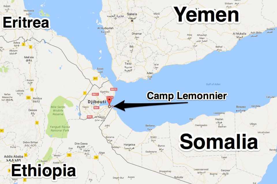 World News 1 Pilots From Us Air Base In Djibouti Targeted With - Map-of-us-air-bases