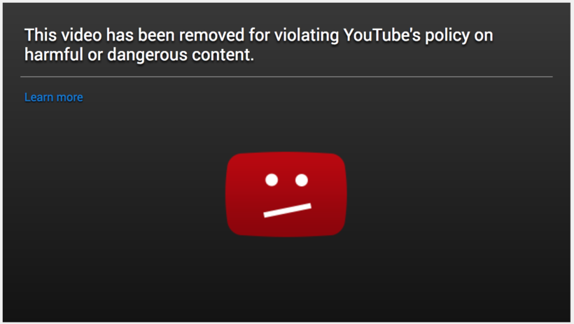 YouTube marks video 'Dangerous Content'