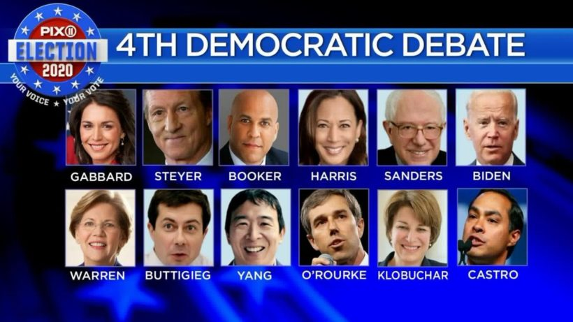 12 Democratic candidates in 4th primary debate