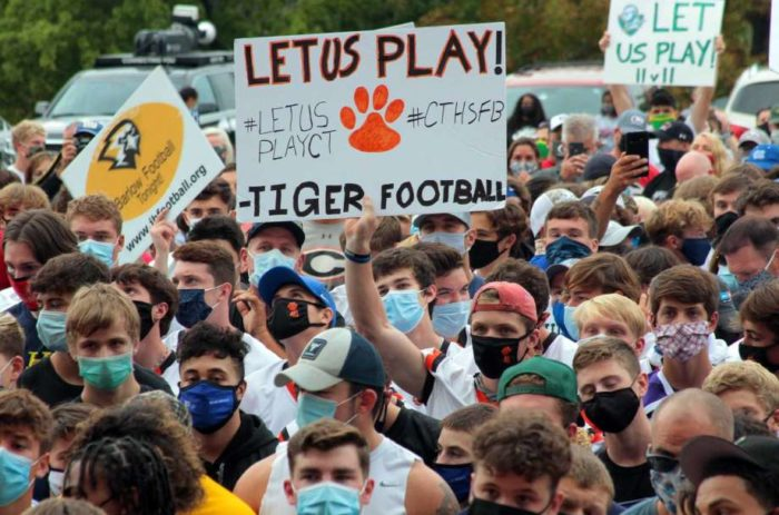 """Let us play!"" – 1,000+ rally to save high school football in Connecticut"